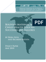 Bolivian Maternal and Child Policies - Successes and Failures