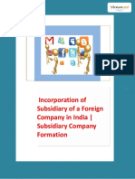 Incorporation of Subsidiary of a Foreign Company in India | Subsidiary Company Formation