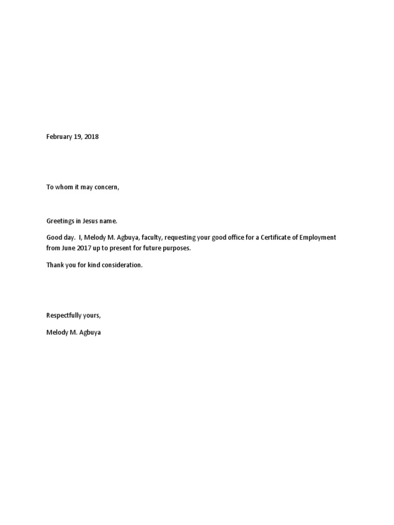 Coe Request Letter
