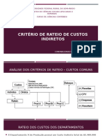 Critério de Rateio de Custos Indiretos