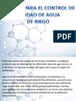 Analisis para el control del agua de riego