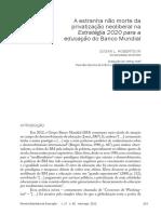 A Estranha Não Morte Da Privatização Neoliberal Na Estratégia 2020 Para a Educação Do Banco Mundial - Susan Robertson