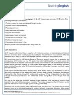 Left Handers Worksheet 1