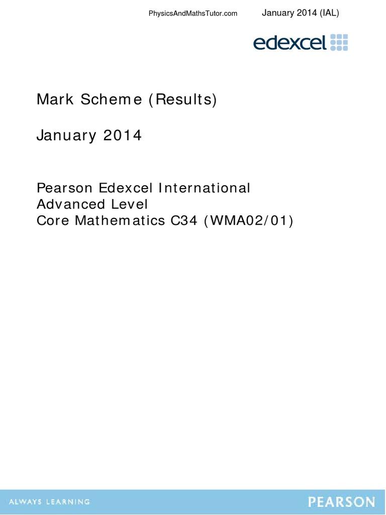January 2014 (IAL) MS - C34 Edexcel | Physics & Mathematics | Mathematics