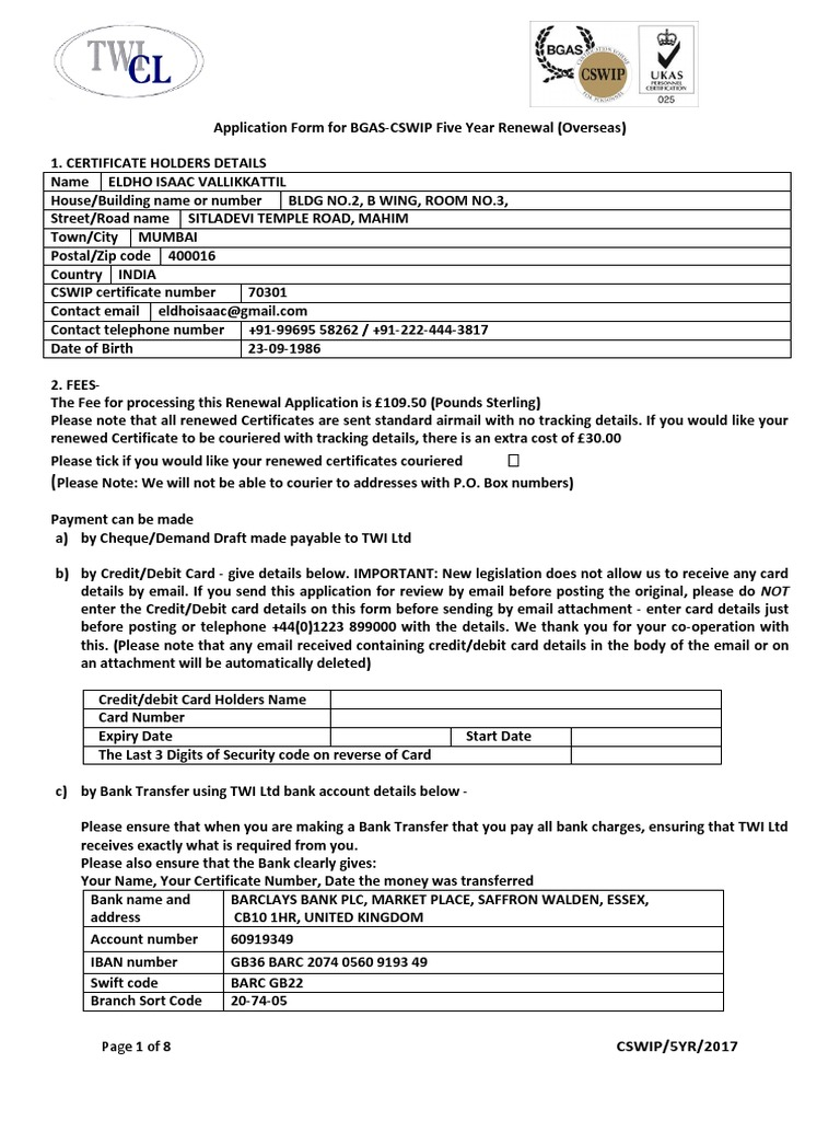 BGAS-CSWIP Application Form for 5 Year Renewal (Overseas) No Logbook ...
