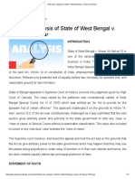 Brief Case Analysis of State of West Bengal V