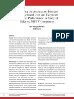 Exploring Association Between Environmental Cost Corporate Financial Performance