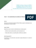 Aula 3 – as Características Da Análise de Políticas Públicas