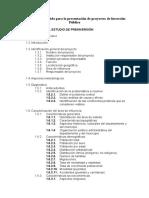 Indice de Contenido Para Estudios de Preinversion
