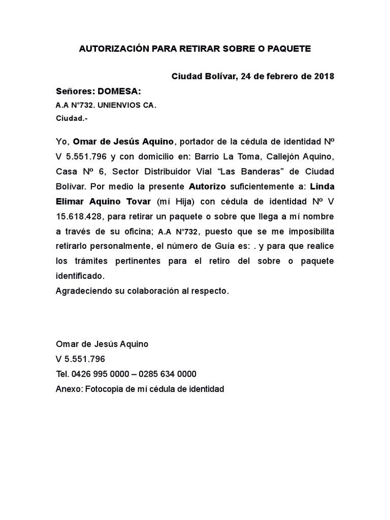 Autorizacion recogida paquete word