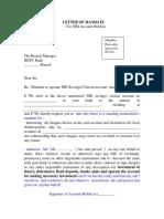 Mandate Letter Form