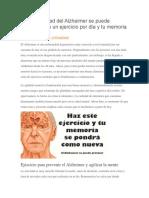 La Enfermedad Del Alzheimer Se Puede Prevenir