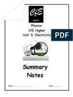 Summary Notes Unit 2 Electricity