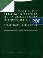 Lecciones de Fenomenologia de La Concien - Edmund Husserl