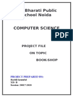 37161889 Cbse Class Xii Computer Science Project File on Book Shop 2010 Exam