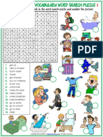 Daily Routines Vocabulary Esl Word Search Puzzle Worksheets for Kids(1)