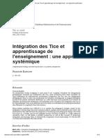 Intégration Des Tice Et Apprentissage de l'Enseignement_ Une Approche Systémique