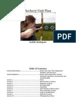 Archery Unit Plan