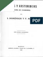 """Ayunos y abstinencias, cocina de cuaresma"""" De Ignacio Domenech y F. Martin"""