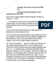 """Food, Drug & Cosmetic Act Doesn't Give FDA """"Access to People"""""""