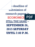 Research Economics Deadline