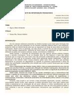 Projeto de Intervenção - Ciências e Geografia - Água e Meio Ambiente - Iª Unidade