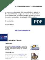 Get the IPL 2018 Teams Detail – CricketnMore