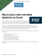Macro Para Crear Una Tabla Dinámica en Excel - Excel Total