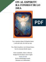 Invocacion Al Espiritu Santo Para Conseguir Lo Que Se Desea
