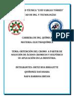 Obtención Del Cromo a Partir de Solución de Ácidos Cromicos y Sulfúrico Su Aplicación en La Industria (1)