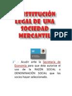 Constitución Legal de Una Sociedad Mercantil.