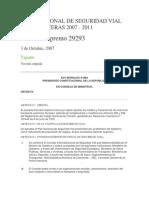 Plan Nacional de Seguridad Vial en Carreteras 2007