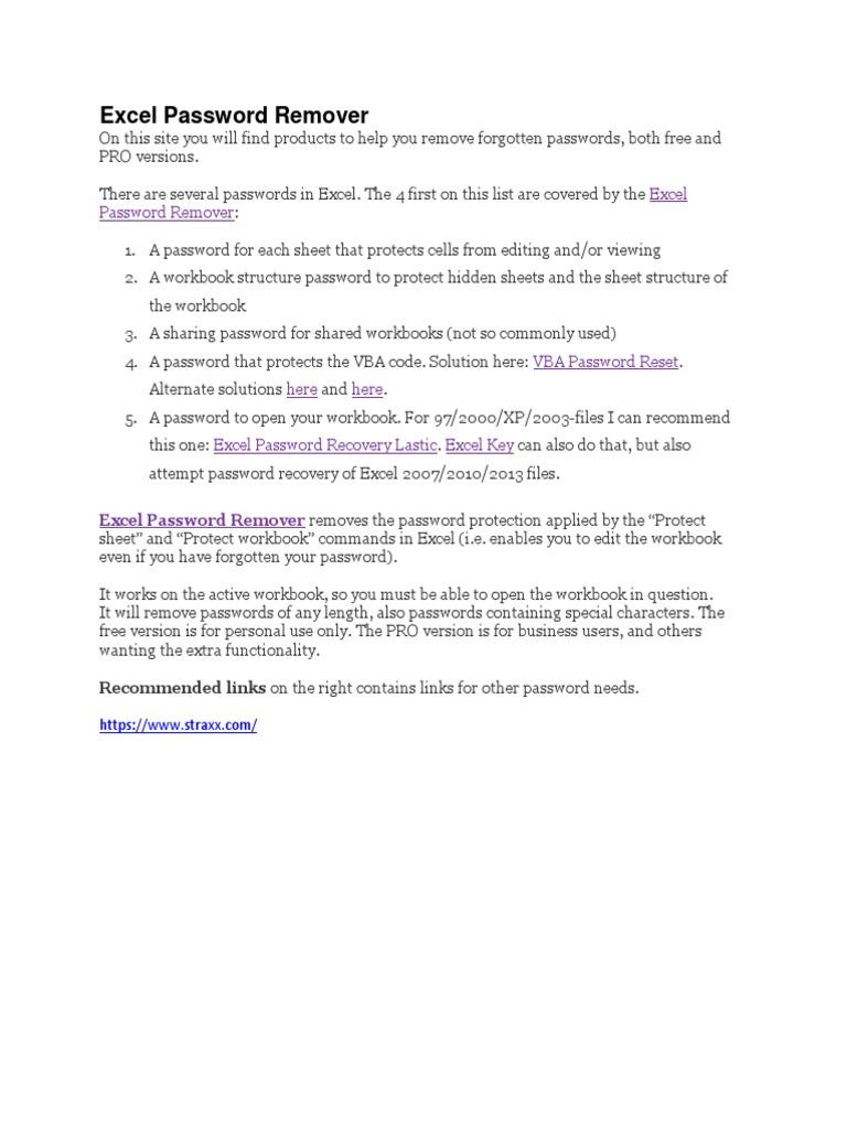 Excel Password Remover | Microsoft Excel | Password