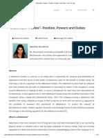 """Debenture Trustee""- Position, Powers and Duties - It is the Law"
