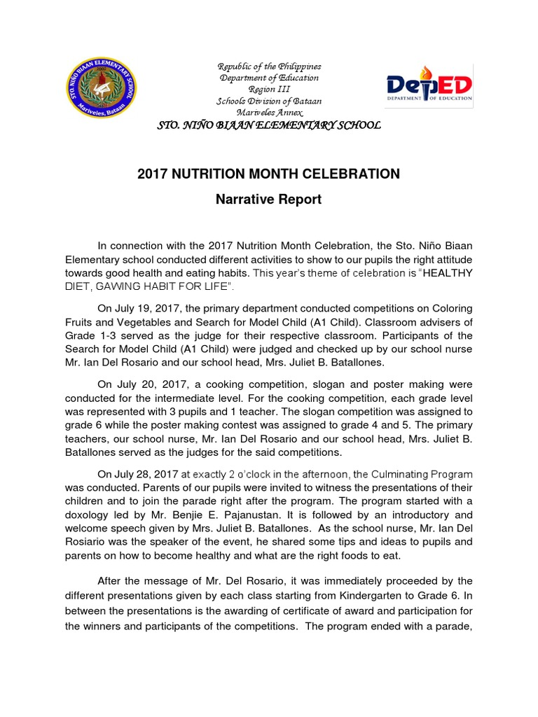 2017 nutrition month celebration narrative report nutrition food 2017 nutrition month celebration narrative report nutrition food and drink altavistaventures Image collections