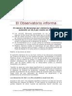 Nota del Observatorio del CGPJ sobre Violencia de género