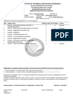 Semester Registration Form For