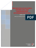 PREPARATION OF BACTERIAL GENOMIC DNA AND CONCENTRATION DETERMINATION OF DNA