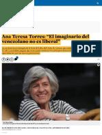 """Ana Teresa Torres_ """"El Imaginario Del Venezolano No Es Liberal"""""""