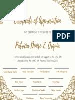 Champagne Floral Frame Appreciation Certificate