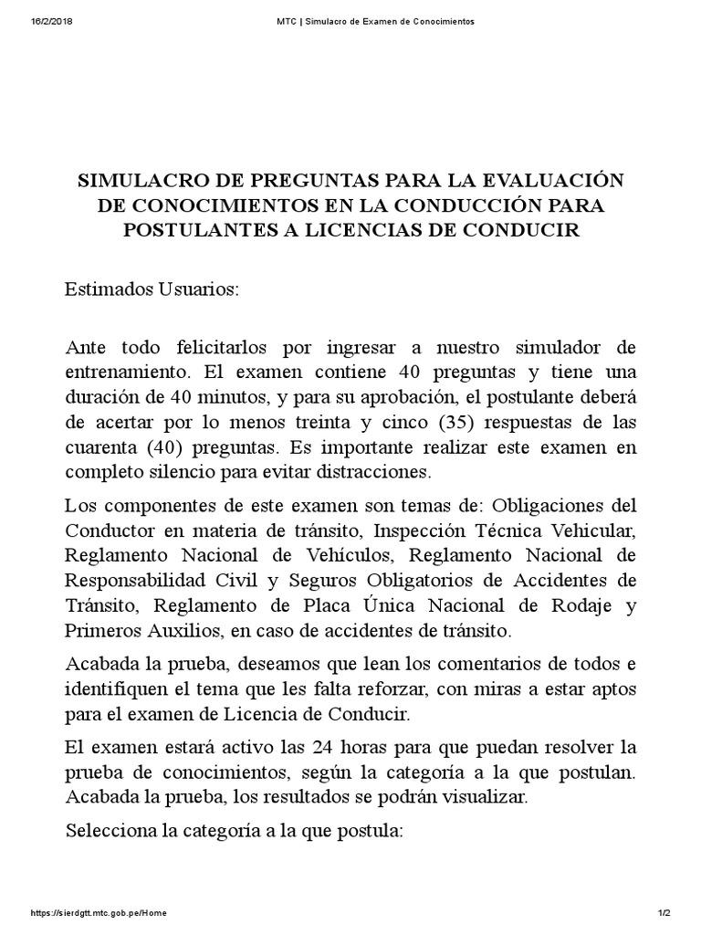 Mtc Simulacro De Examen De Conocimientos Licencia De Conducir Transporte