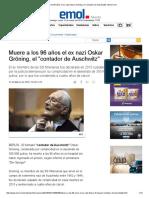 Muere a Los 96 Años El Ex Nazi Oskar Gröning, El _contador de Auschwitz