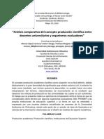 Análisis comparativo del concepto producción científica entre docentes universitarios y organismos evaluadores