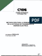 D-010-09 Metodología Para La Remuneración de La Actividad de Transmisión de Energía Eléctrica