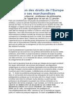 Déclaration des droits de l'Europe et de ses marchandises