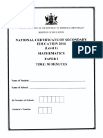 NCSE 2014 Mathematics 1
