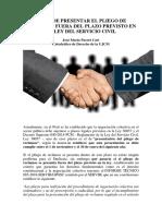 Se Puede Presentar El Pliego de Reclamos Fuera Del Plazo Previsto en La Ley Del Servicio Civil - Autor José María Pacori Cari