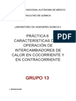 Práctica 6- Flujo de Intercambiadores en Contracorriente y Cocorriente