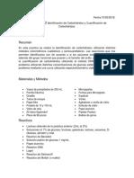 Practica No. 2. Identificación de Carbohidratos y curva de cuantificación