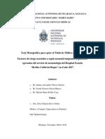 Factores de Riesgo Asociados a SNT en HBCR en El 2017 -Informe Preliminar